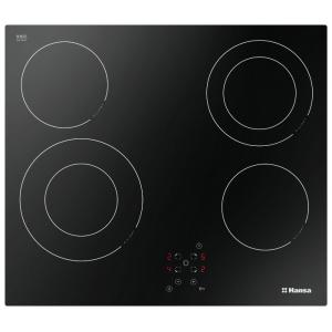 Варочная поверхность HANSA BHC 96506 стеклокерамика (58*52, поверхность стеклокерамика, 4 Hi Light+ 2 двухконтур.,панель спереди, сенсор.перекл.,черный.)