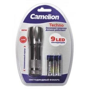 Фонарь Camelion LED 5107-9 титан (9диодов, 3R3 в комплекте, металл, блистер уп.6/48