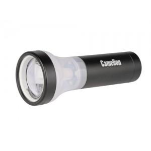 Фонарь Camelion LED 51512 черный,1 LED + 4 LED, 3реж., 3xLR3 в комплекте, алюм, блистер